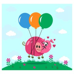 cute funny pink pig flying with balloon cartoon character