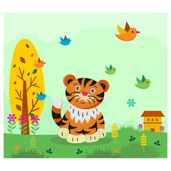 cute funny tiger cub in the meadow cartoon character