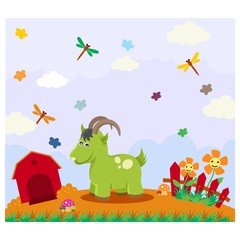 cute funny green goat in the farms cartoon character