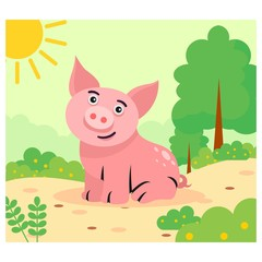 cute funny little pig in the sunny day cartoon character
