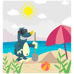 cute funny mole digging in beach cartoon character