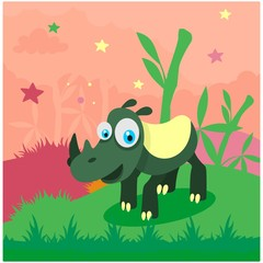 cute funny green rhino in the bamboo forest cartoon character