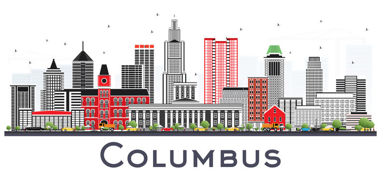 Columbus Ohio Skyline with Gray Buildings Isolated on White.