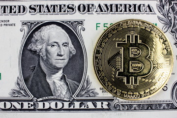 Cryptocurrency Bitcoin and USA dolar banknote. Blockchain technology