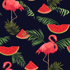 seamless pattern with flamingos, watermelons and palm leaves