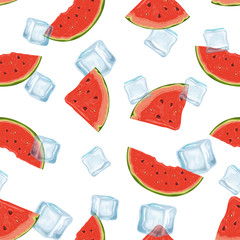 seamless pattern with watermelons and ice cubes