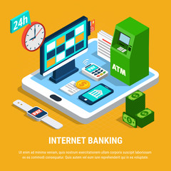 Internet Banking Isometric Composition