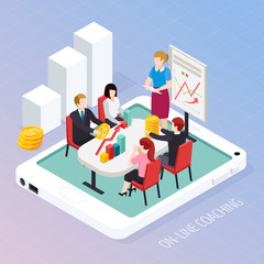 Business Coaching Online Isometric Composition