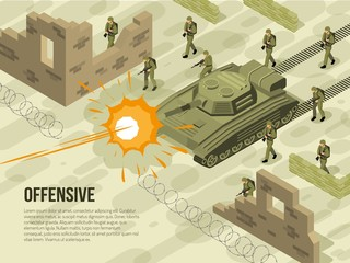 Military Battle Isometric Illustration