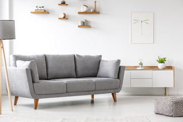 Simple, gray sofa standing next to a white cupboard in living room interior with decorations on wooden shelves. Real photo
