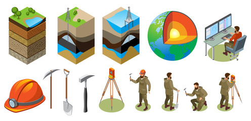 Earth Exploration Isometric Icons Wall mural