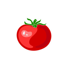 Vector Tomato Isolated on White Background, Red Vegetable.