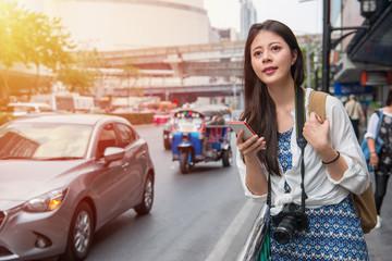 Asian woman outside street in bangkok