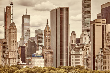 Sepia toned picture of the Manhattan skyline.