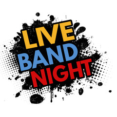 Live band night  grunge rubber stamp