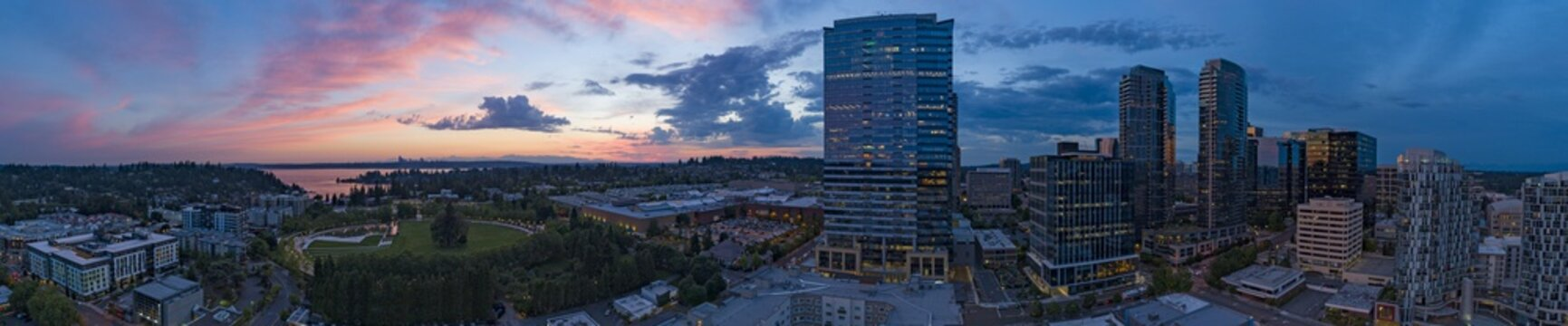 Bellevue Washington Downtown Sunset Panorama Pink Sky City Overview