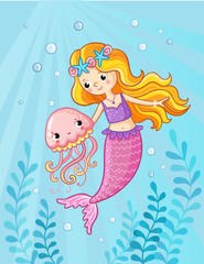 Mermaid with a jellyfish under water. Vector illustration of a cartoon style on a children's theme. Picture with the sea.