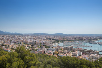 View from the Old fortified castle high above Palma in Majorca