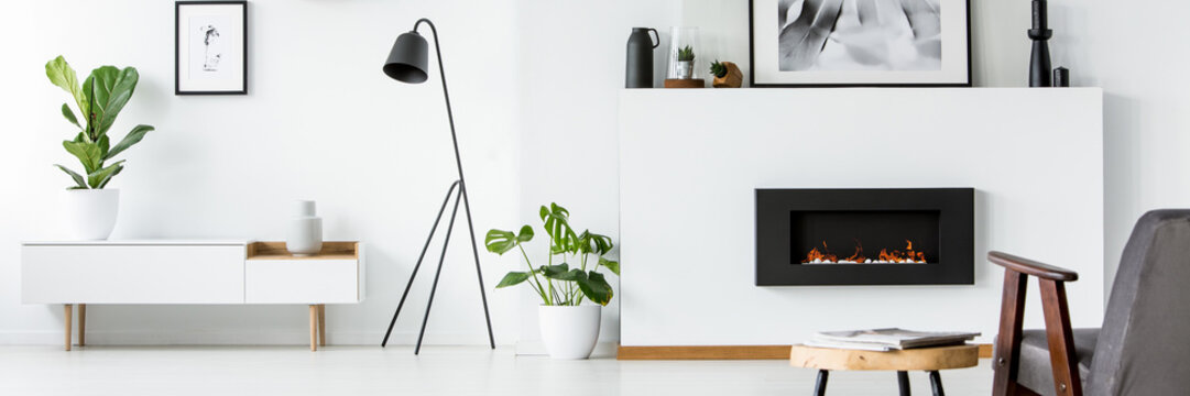 Wall with poster, decor and fireplace in bright living room interior with fresh green plants, black lamp next to cupboard and grey armchair