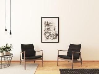 Blick auf zwei Sessel vor einer weißen Wand im Wohnzimmer