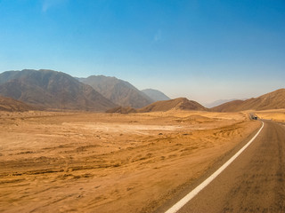 road to Colored Canyon, near Mount Sinai and Nuweiba, Sinai Peninsula in Egypt.