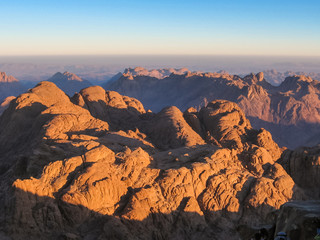 Spectacular aerial view of the holy summit of Mount Sinai, Aka Jebel Musa, 2285 meters, at sunrise, Sinai Peninsula in Egypt.