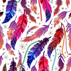 Wall Murals Boho Style Ethnic feather seamless pattern in boho style.