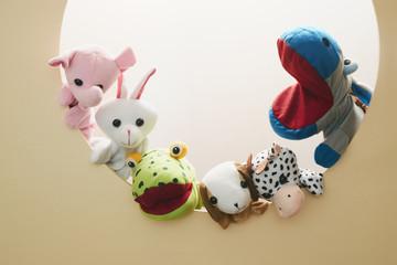 丸 動物 パペット ぬいぐるみ 仲良し 友達 ネズミ キリン パンダ
