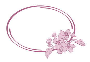 oval frame with apple-tree flowers - vector