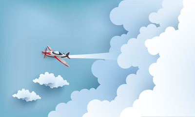 illustration of  airplane over a clouds and mountains.