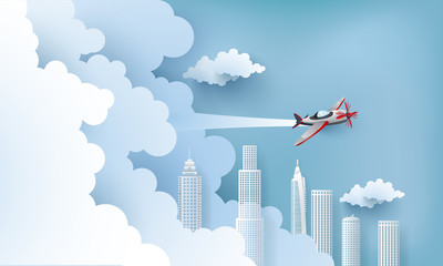 illustration of an airplane over a clouds and city.