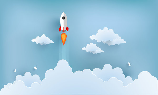 rocket illustration flying over cloud. beautiful scenery with white clouds