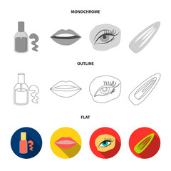 Nail polish, tinted eyelashes, lips with lipstick, hair clip.Makeup set collection icons in flat,outline,monochrome style vector symbol stock illustration web.