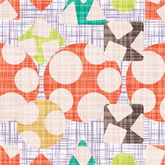Tissue abstract print with geometric shapes. Vector illustration. Rhombus, square, triangle and circle design.