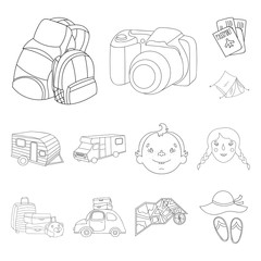Family holiday outline icons in set collection for design. Recreation and equipment. vector symbol stock web illustration.