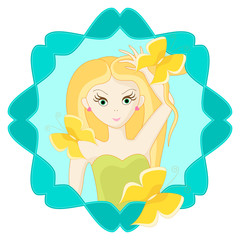Girl with butterflies. Avatar. Cartoon character. Vector illustration.