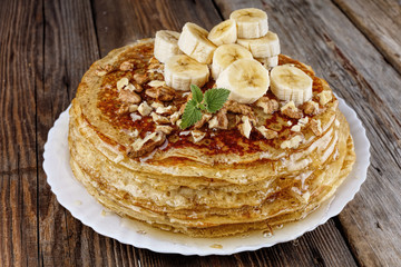 pancakes, homemade, bakery, Russian pancakes, homemade, honey, cooking, baking, Country style.