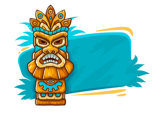 Banner with Tiki ethnic traditional tribal mask. Totem symbol
