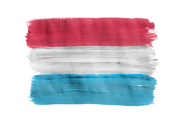 Painted Luxembourg flag isolated
