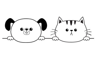 Cat dog happy face head icon. Hands paw holding line. Contour silhouette. Cute cartoon pooch kitten character. Kawaii animal. Funny baby puppy kitty. Love card. Flat design. White background.