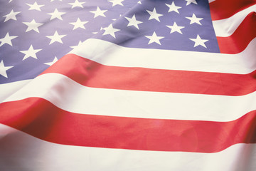 Antique America flag waving pattern background in red blue white color concept for USA 4th july independence day.