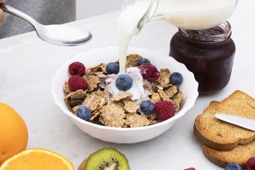 healthy breakfast with cereals and fruits, full breakfast