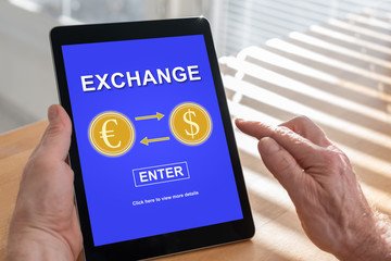 Exchange concept on a tablet