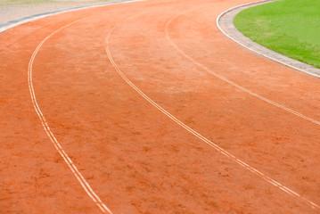 Athletic sport running track lane in stadium