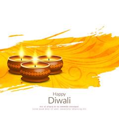 Abstract Happy Diwali bright yellow background