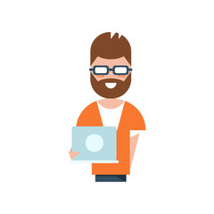 Professional programmer charatcter, smiling man holding laptop computer vector Illustration on a white background