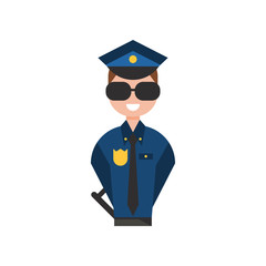 Police officer character, policeman in blue uniform vector Illustration on a white background