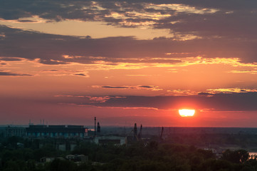 Sunset in Nizhny Novgorod, in the industrial and commercial zone