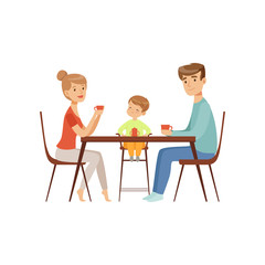 Mom, dad and their son sitting at the table and drinking tea, happy family and parenting concept vector Illustration on a white background