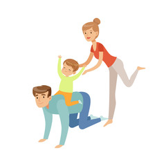 Mom, dad and their son having fun together, boy riding on his fathers back, happy family and parenting concept vector Illustration on a white background